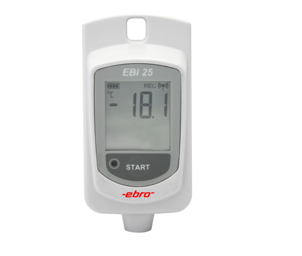 Temperature Data Logger with Radio Technology. Measuring range:-30 °C...+60 °C. For transport and storage monitoring.