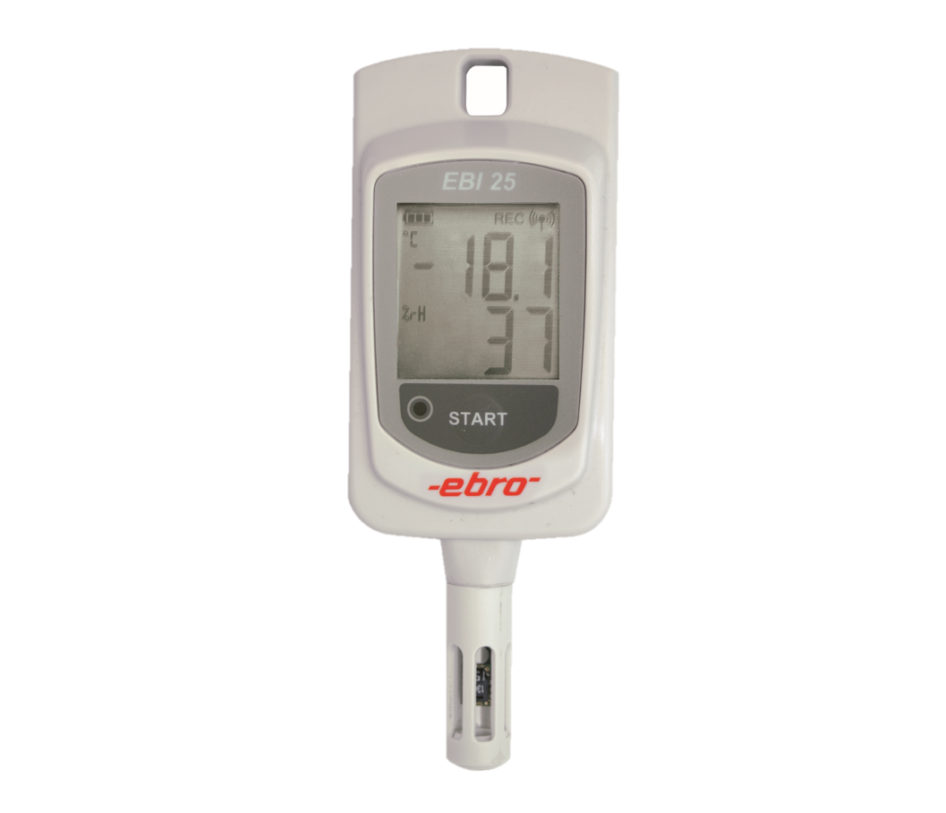 Temperature/Humidity Data Logger with Radio Technology.  For transport and storage monitoring with continuous monitoring