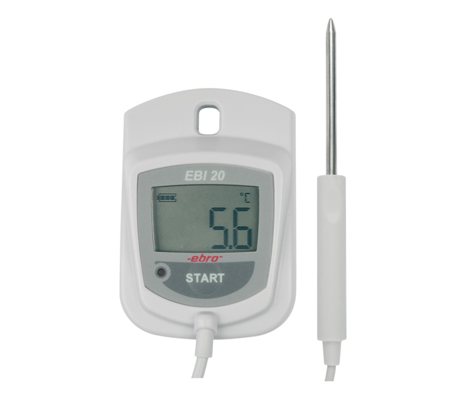 Temperature data logger with external probe. For temperature monitoring: warehouse, laboratory, process, and cold storage