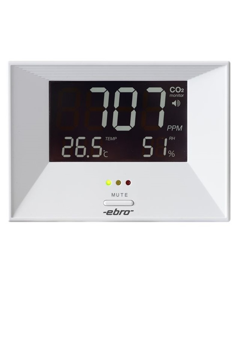 The room climate monitor RM 100 measures the air temperature and humidity as well as the CO2 value. The measurements are clearly visible in the large, illuminated display.